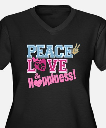 Peace Love and Happiness Women's Plus Size V-Neck