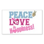 Peace Love and Happiness Rectangle Sticker