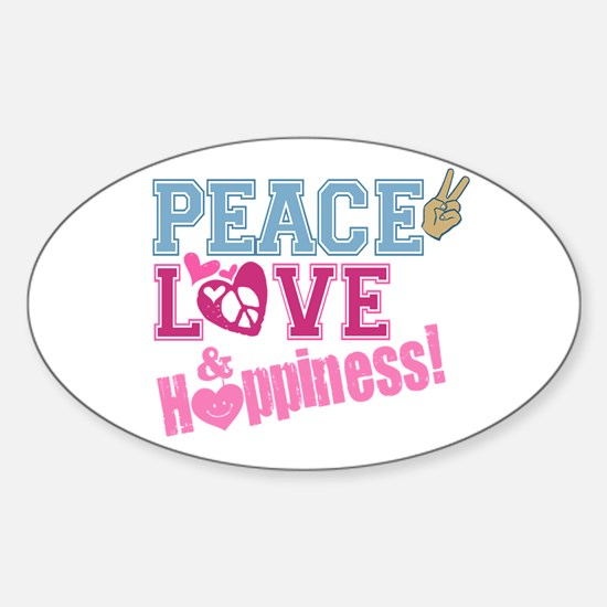 Peace Love and Happiness Oval Decal