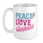 Peace Love and Happiness Large Mug