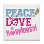 Peace Love and Happiness Tile Coaster