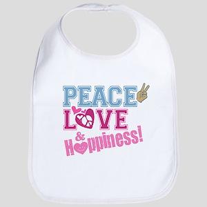 Peace Love and Happiness Bib