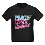 Peace Love and Happiness Kids Dark T-Shirt