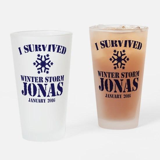Survived Winter Storm Jonas Drinking Glass