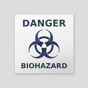 distressedBiohazardTextPurpGrnT Sticker