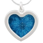 Sapphire Heart Silver Heart Necklaces