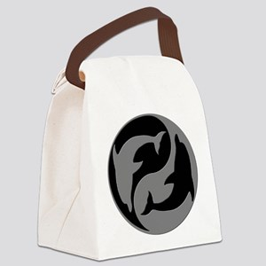 Grey And Black Yin Yang Dolphins Canvas Lunch Bag