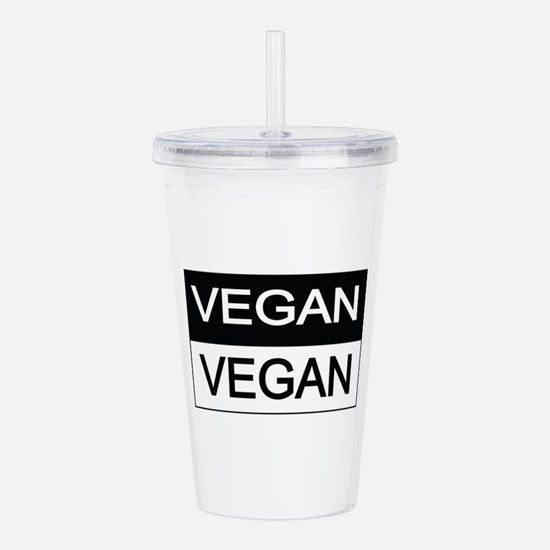 Vegan Black And White Acrylic Double-Wall Tumbler