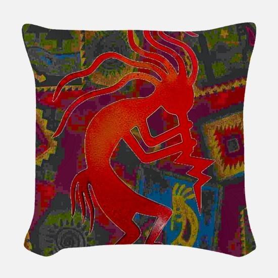 Red Kokopelli Woven Throw Pillow