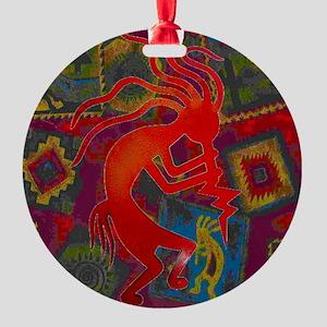 Red Kokopelli Round Ornament