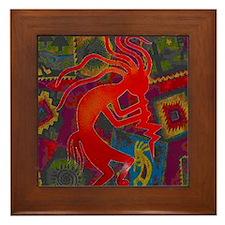 Red Kokopelli Framed Tile