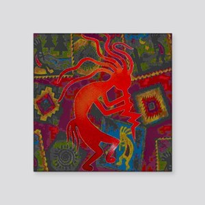 "Red Kokopelli Square Sticker 3"" x 3"""
