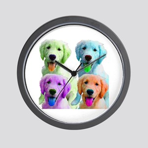 Golden Retriever Warhol Wall Clock