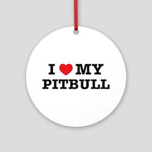 I Heart My Pitbull Round Ornament