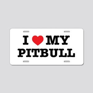 I Heart My Pitbull Aluminum License Plate