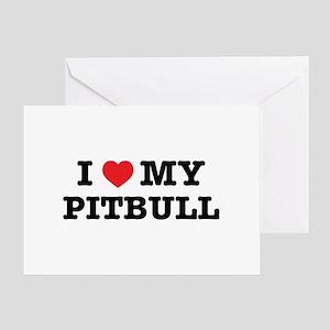 I Heart My Pitbull Greeting Cards