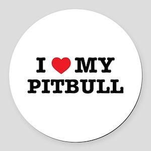 I Heart My Pitbull Round Car Magnet