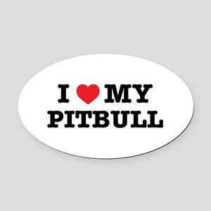 I Heart My Pitbull Oval Car Magnet