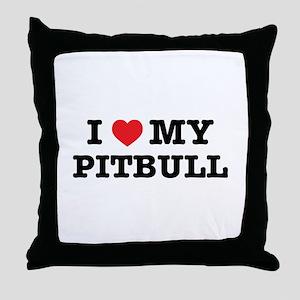 I Heart My Pitbull Throw Pillow