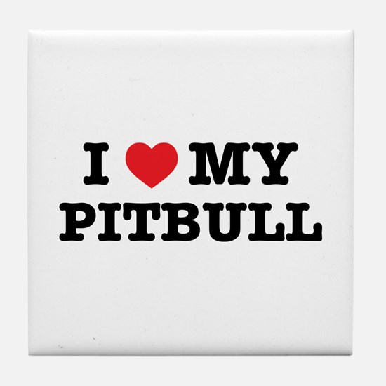 I Heart My Pitbull Tile Coaster