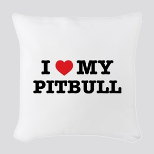 I Heart My Pitbull Woven Throw Pillow