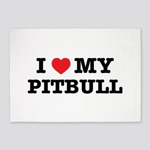 I Heart My Pitbull 5'x7'Area Rug