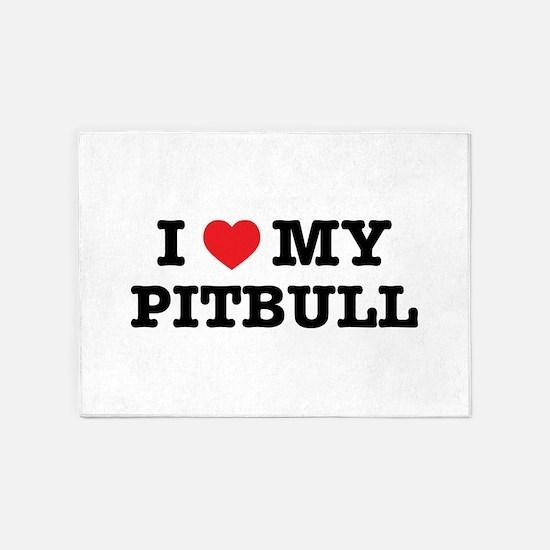 I Heart My Pitbull 5'x7'Area Rug