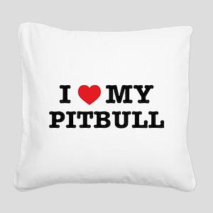 I Heart My Pitbull Square Canvas Pillow