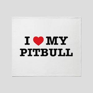 I Heart My Pitbull Throw Blanket
