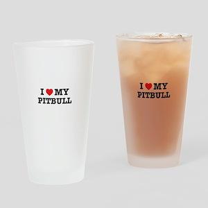 I Heart My Pitbull Drinking Glass
