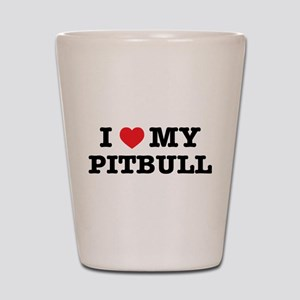 I Heart My Pitbull Shot Glass
