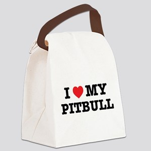 I Heart My Pitbull Canvas Lunch Bag