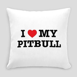 I Heart My Pitbull Everyday Pillow