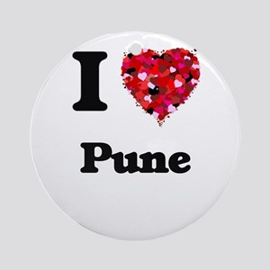 I love Pune India Round Ornament