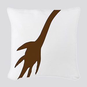 Dark Brown Dinosaurs Woven Throw Pillow