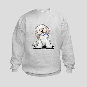 Smiling Doodle Puppy Kids Sweatshirt