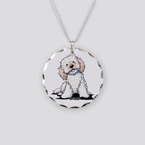 Smiling Doodle Puppy Necklace Circle Charm