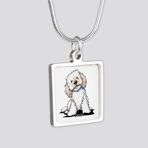 Smiling Doodle Puppy Silver Square Necklace