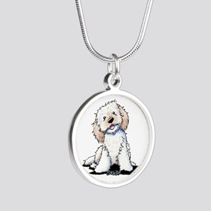 Smiling Doodle Puppy Silver Round Necklace