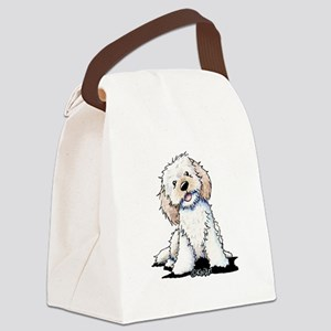 Smiling Doodle Puppy Canvas Lunch Bag