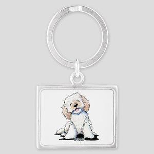 Smiling Doodle Puppy Landscape Keychain