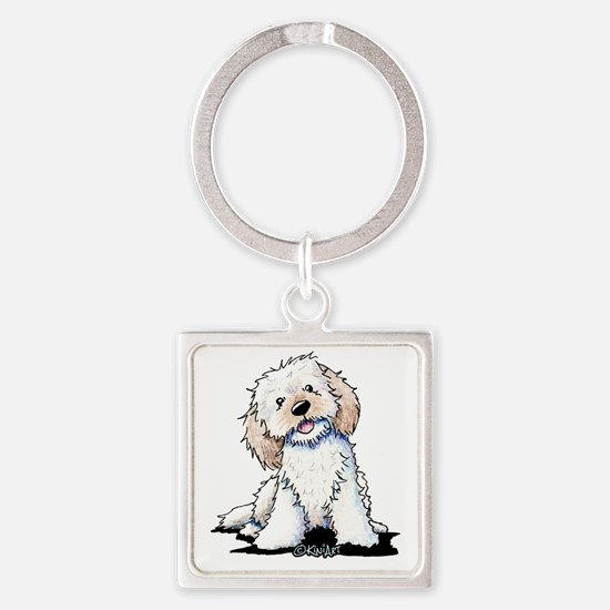 Smiling Doodle Puppy Square Keychain