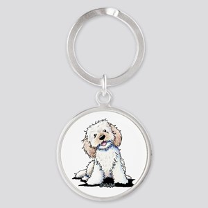 Smiling Doodle Puppy Round Keychain