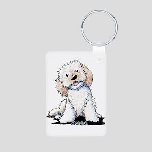 Smiling Doodle Puppy Aluminum Photo Keychain
