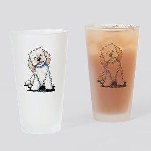 Smiling Doodle Puppy Drinking Glass