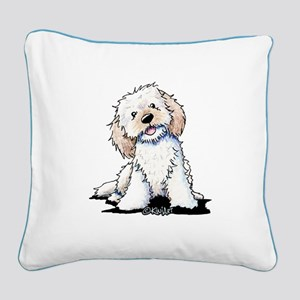 Smiling Doodle Puppy Square Canvas Pillow