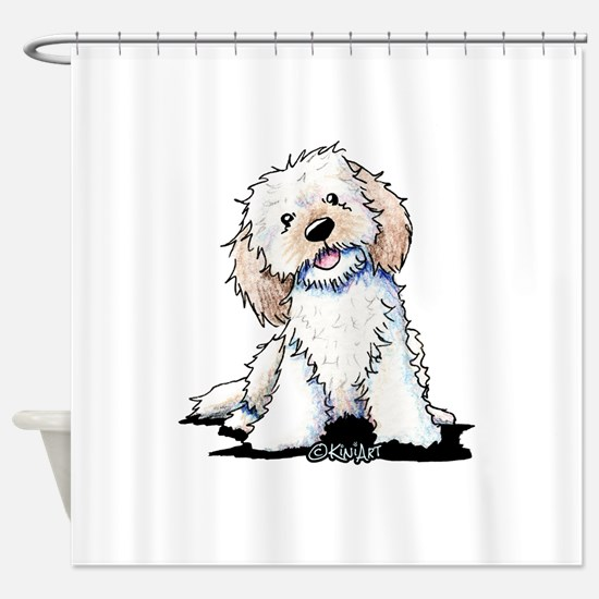 Smiling Doodle Puppy Shower Curtain