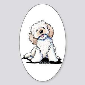 Smiling Doodle Puppy Sticker (Oval)