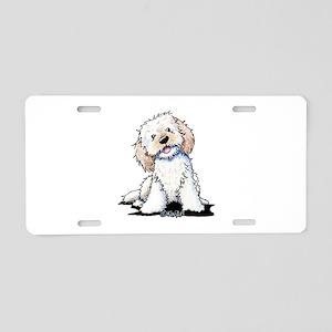 Smiling Doodle Puppy Aluminum License Plate