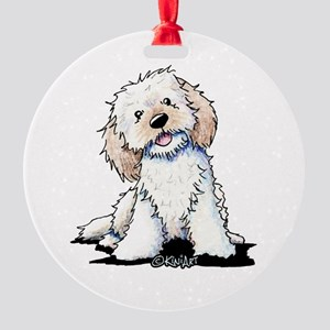 Smiling Doodle Puppy Round Ornament